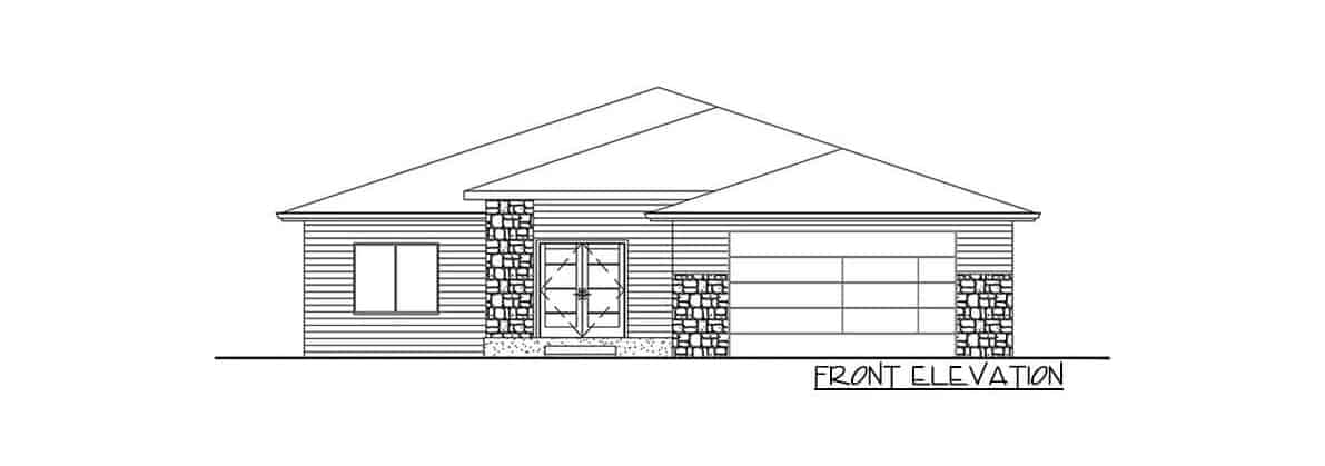 Front elevation sketch of the single-story 3-bedroom modern ranch.