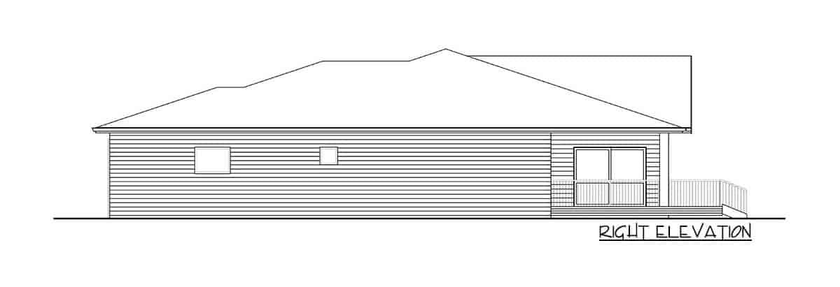 Right elevation sketch of the single-story 3-bedroom modern ranch.