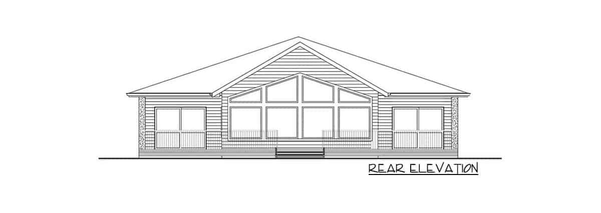 Rear elevation sketch of the single-story 3-bedroom modern ranch.