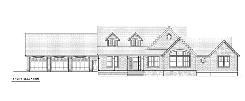 Front elevation sketch of the single-story 4-bedroom cape cod style home