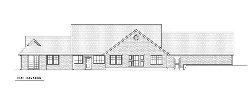 Rear elevation sketch of the single-story 4-bedroom cape cod style home