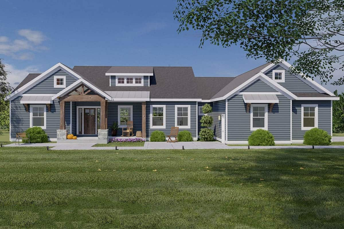 Single-Story 4-Bedroom Craftsman Home for a Rear Sloping Lot