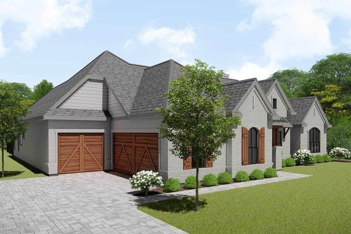Front-left rendering of the single-story 4-bedroom New American ranch.