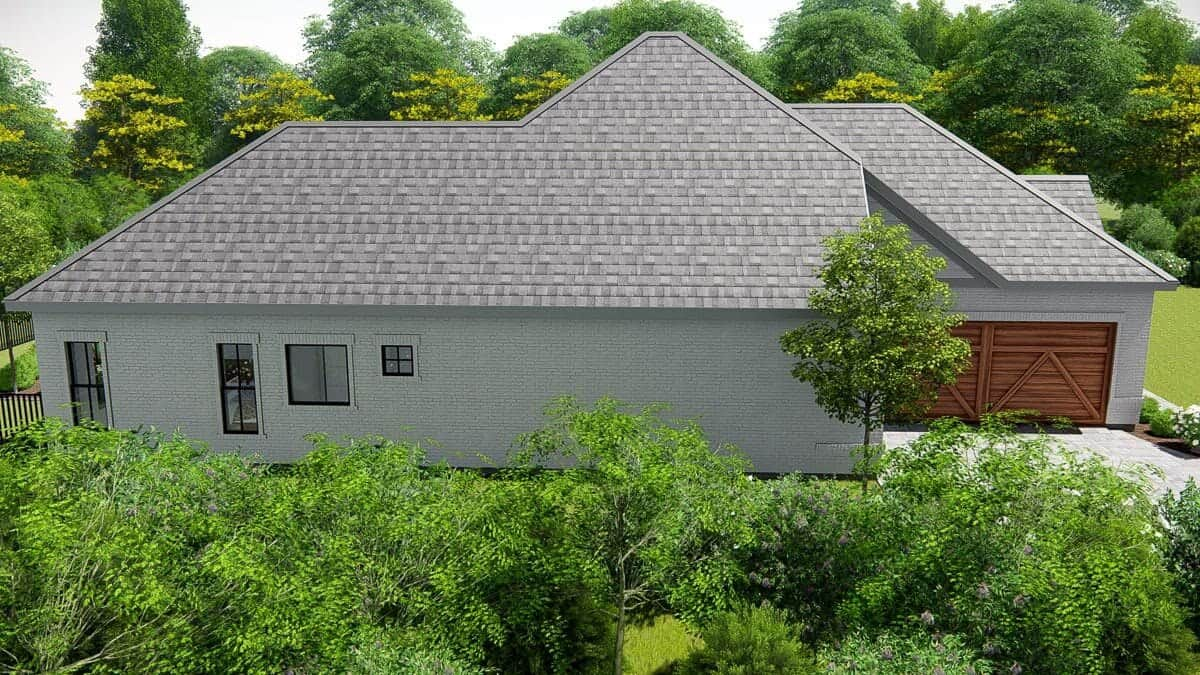 Left rendering of the single-story 4-bedroom New American ranch.