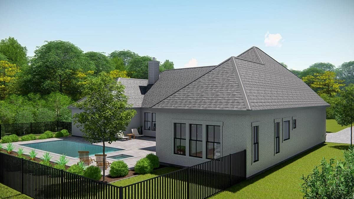 Rear-right rendering of the single-story 4-bedroom New American ranch.