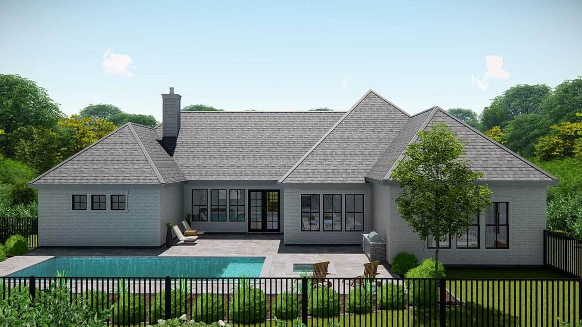 Rear rendering of the single-story 4-bedroom New American ranch.