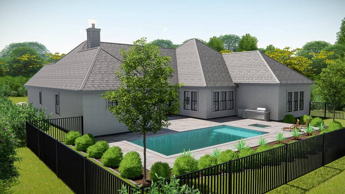 Rear-left rendering of the single-story 4-bedroom New American ranch.