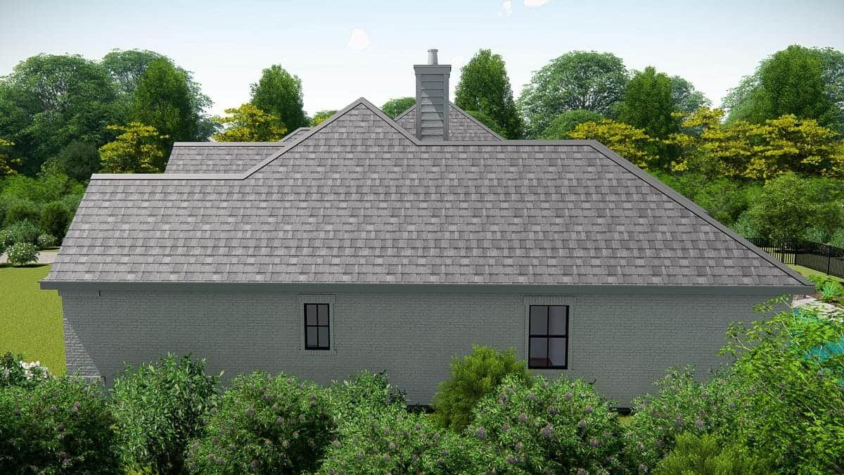 Right rendering of the single-story 4-bedroom New American ranch.