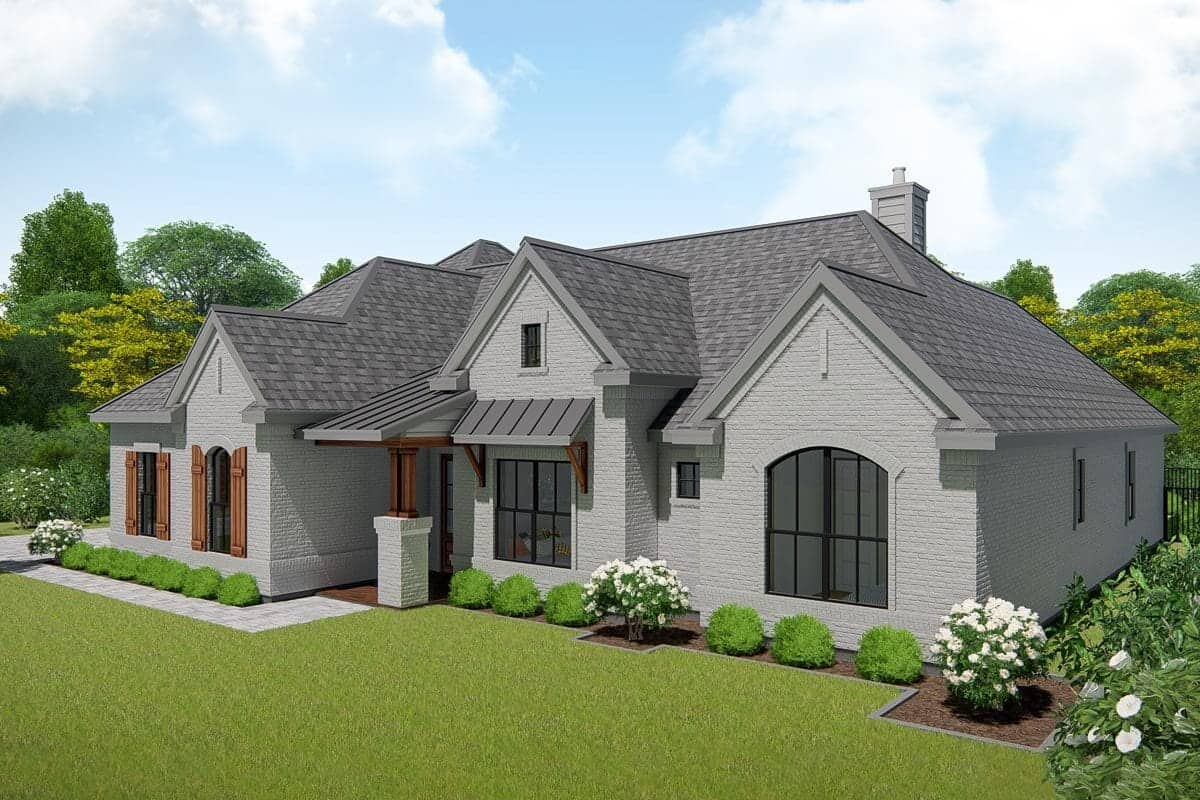 Front-right rendering of the single-story 4-bedroom New American ranch.
