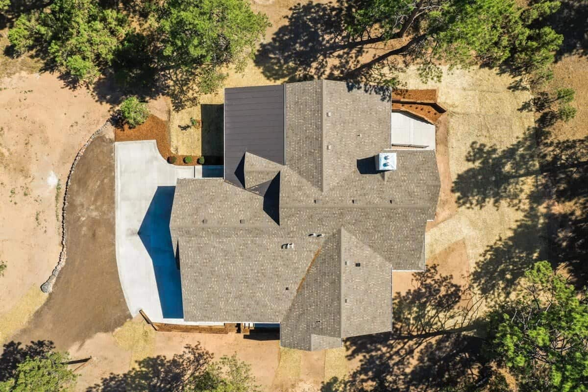 Bird's eye view of the single-story craftsman home.
