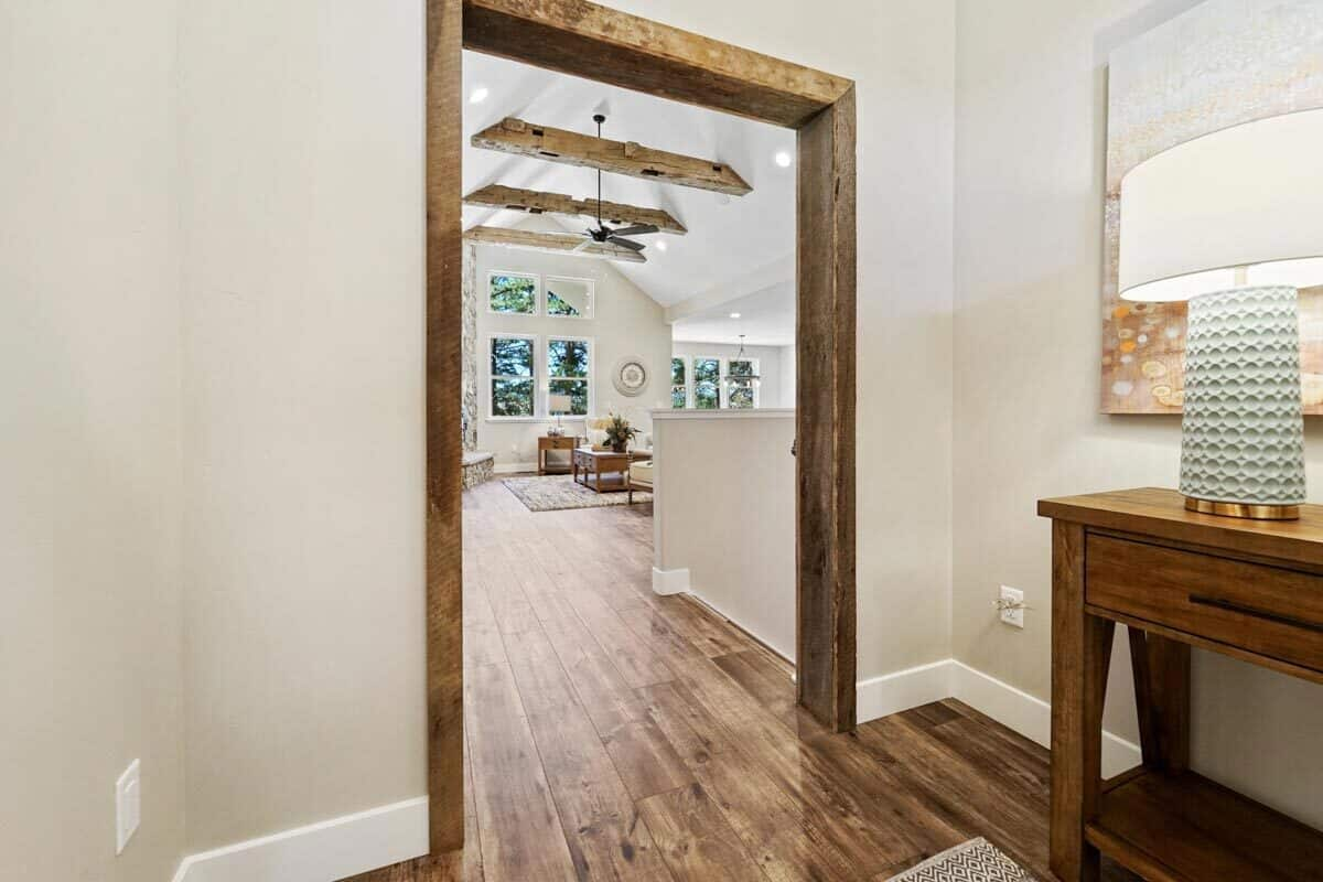 From the foyer, you have a great view of the vaulted living room.