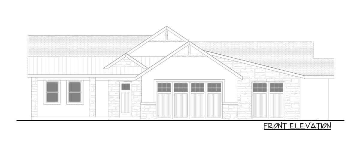 Front elevation sketch of the single-story 5-bedroom hillside craftsman home.