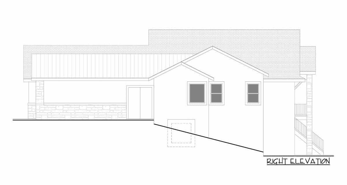 Right elevation sketch of the single-story 5-bedroom hillside craftsman home.