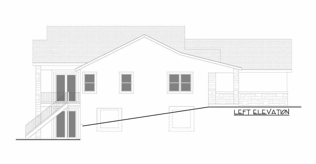 Left elevation sketch of the single-story 5-bedroom hillside craftsman home.