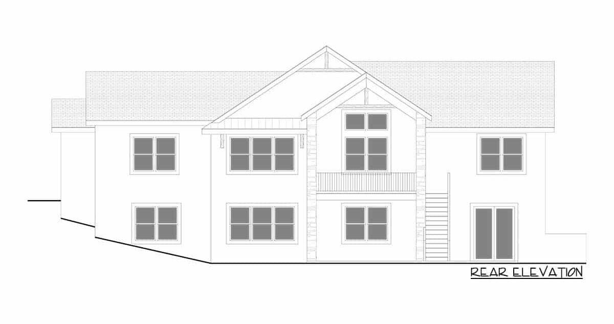 Rear elevation sketch of the single-story 5-bedroom hillside craftsman home.