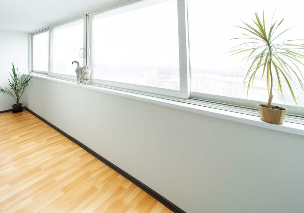 This is a close look at a set of sliding windows at a sitting room.