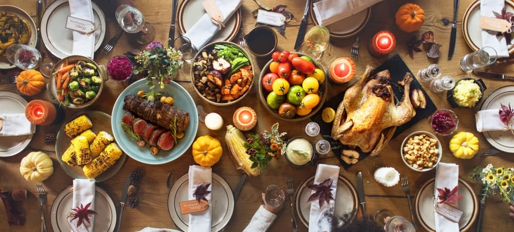 This is a top view of a rustic thanksgiving spread.