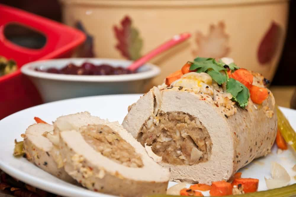 A close look at a batch of vegetarian turkey luncheon meat.