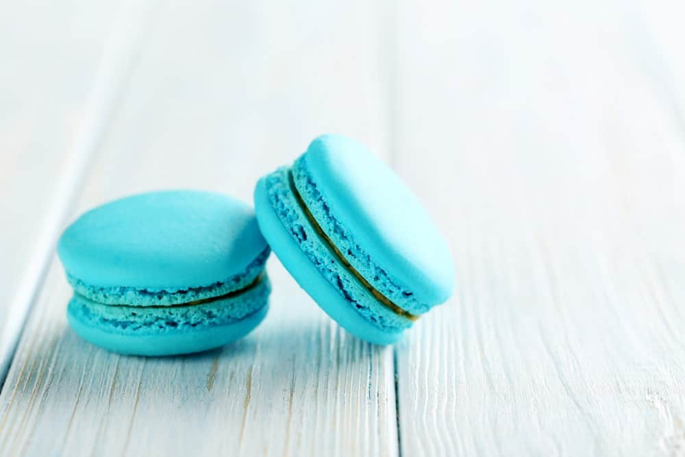 A couple of pieces of blue French macarons.