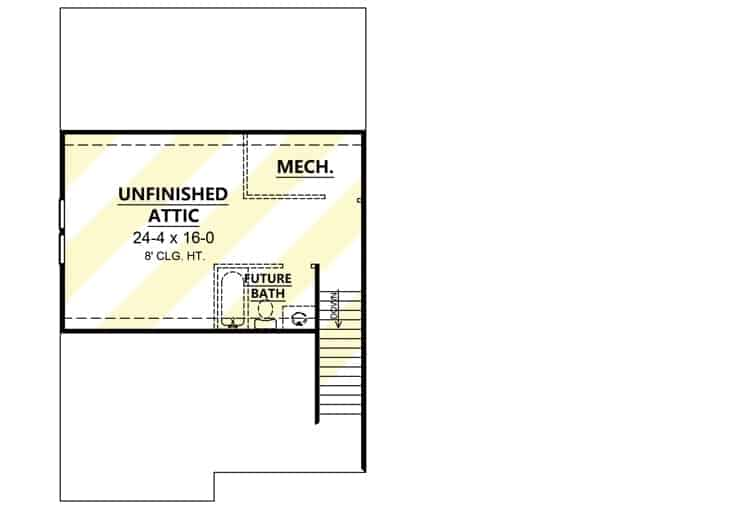 Optional Third level floor plan with unfinished attic, a future bath, and a mechanical room.