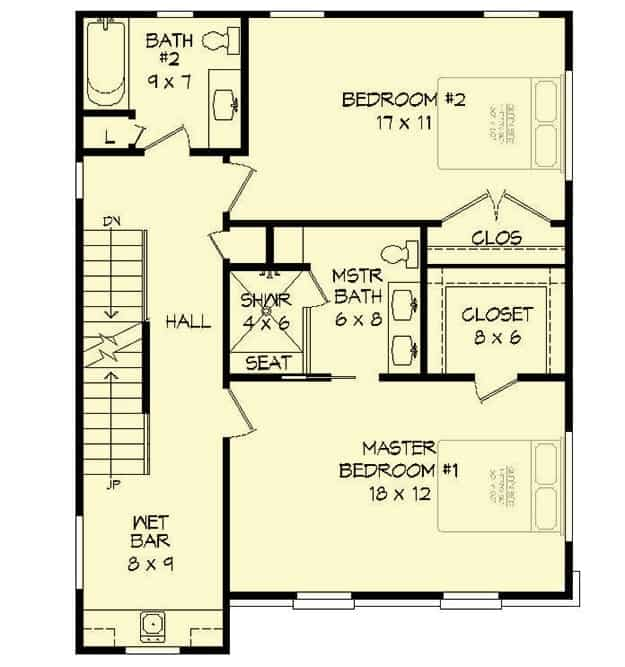 Third level floor plan with a wet bar and two bedrooms including the primary suite.