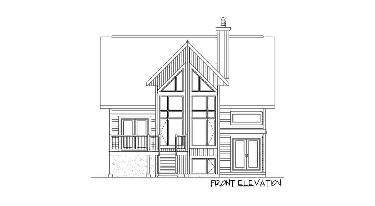 Front elevation sketch of the two-story 2-bedroom mountain vacation home.