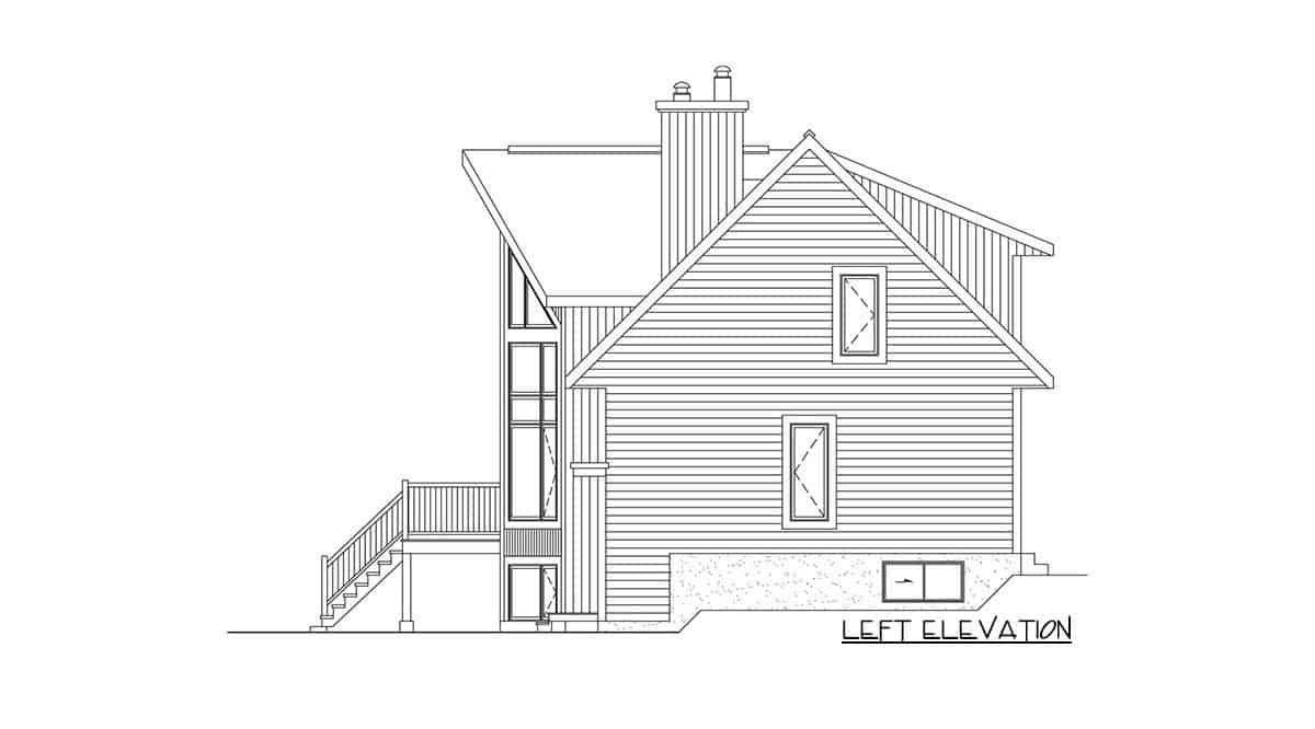 Right elevation sketch of the two-story 2-bedroom mountain vacation home.
