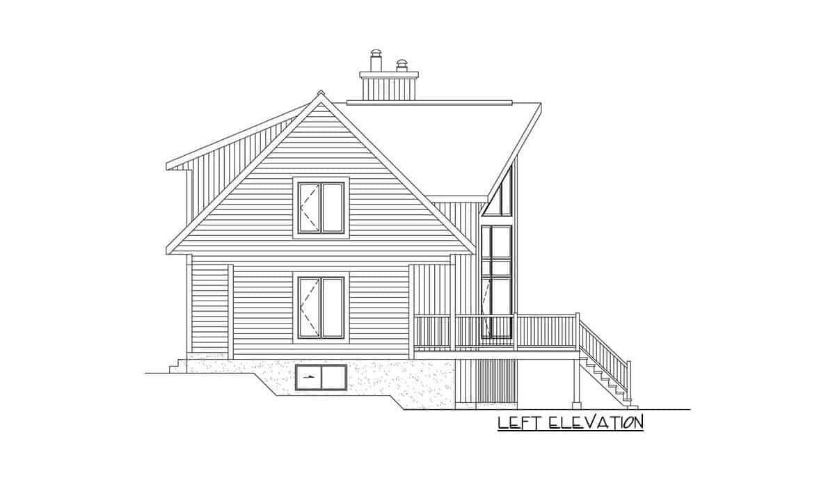 Left elevation sketch of the two-story 2-bedroom mountain vacation home.