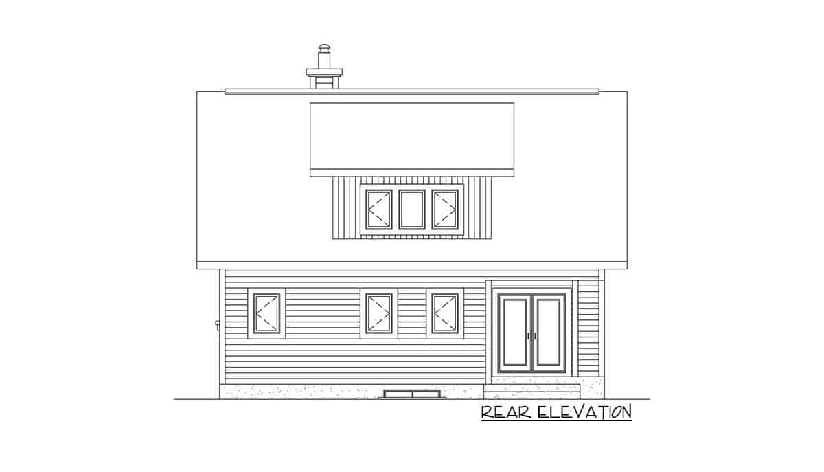 Rear elevation sketch of the two-story 2-bedroom mountain vacation home.