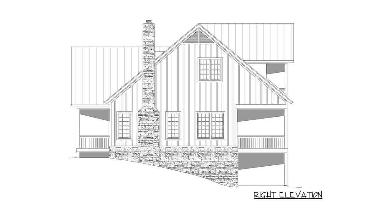 Right elevation sketch of the two-story 3-bedroom country home.