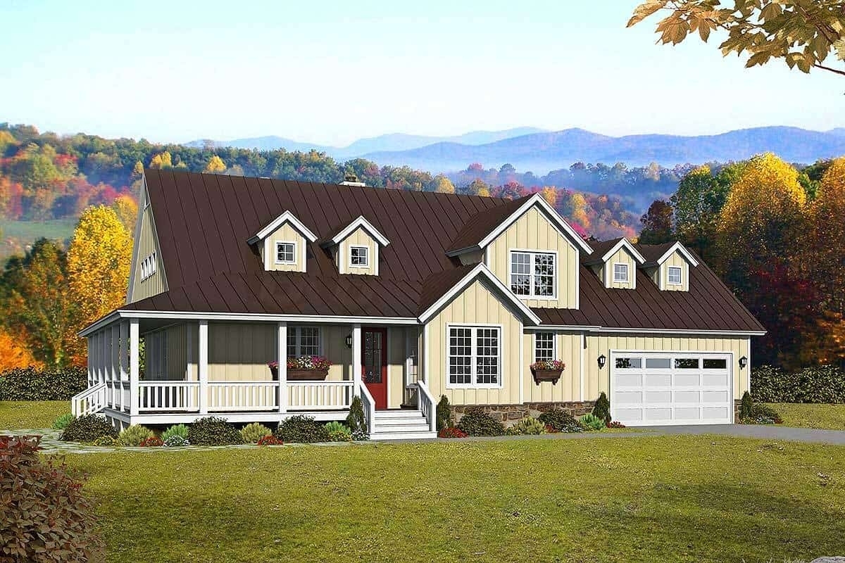 Two-Story 3-Bedroom Country Home with Bonus Room and Wraparound Porch