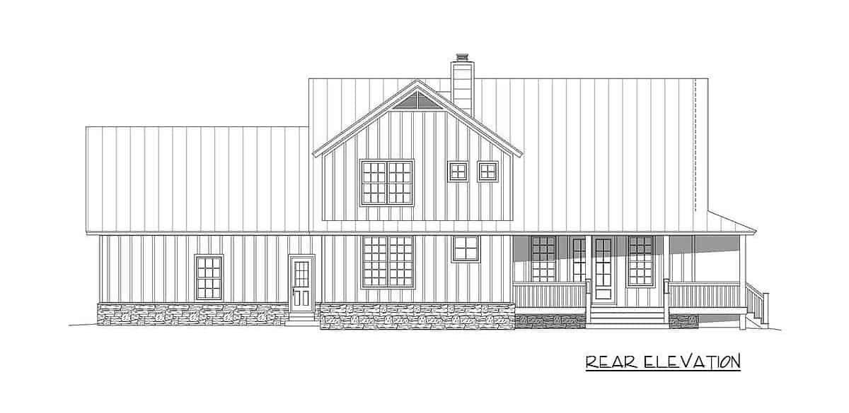 Rear elevation sketch of the two-story 3-bedroom country home.