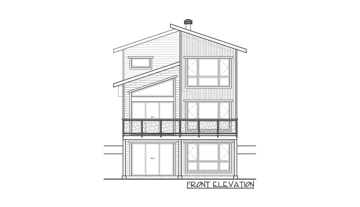 Front elevation sketch of the two-story 3-bedroom hillside contemporary home.