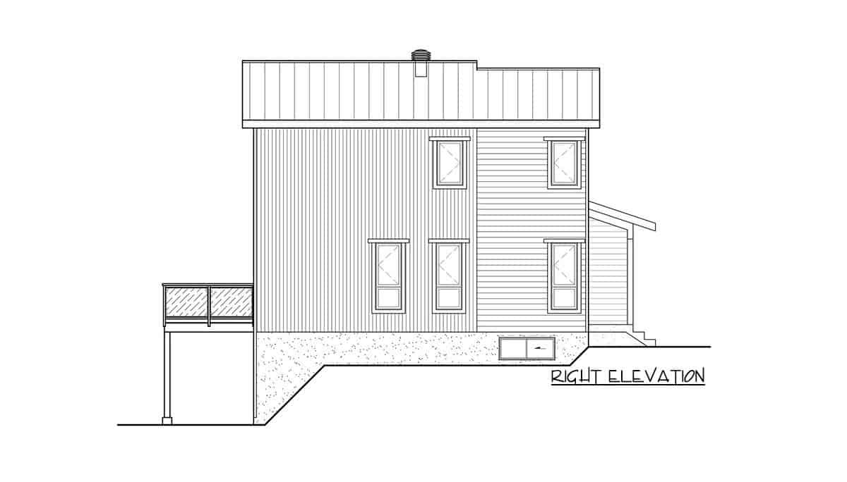 Right elevation sketch of the two-story 3-bedroom hillside contemporary home.