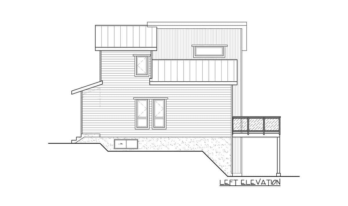 Left elevation sketch of the two-story 3-bedroom hillside contemporary home.