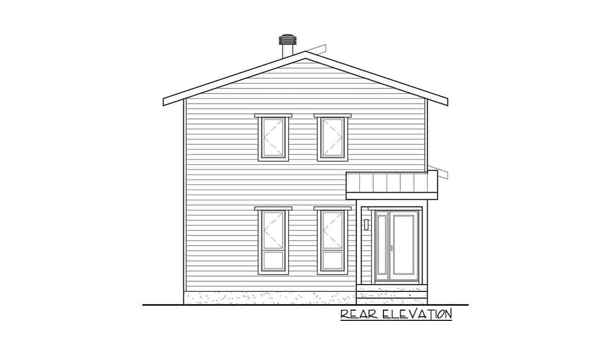 Rear elevation sketch of the two-story 3-bedroom hillside contemporary home.