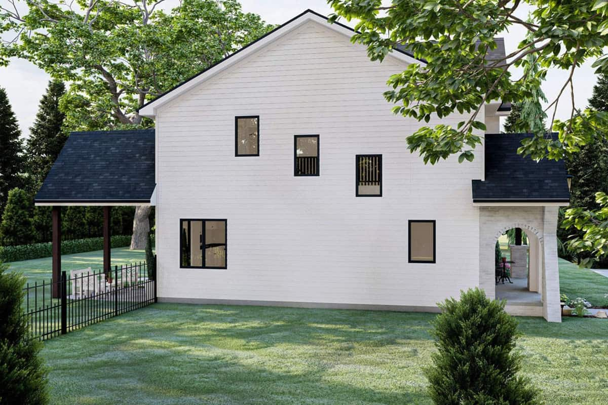 Left rendering of the two-story 3-bedroom modern cottage-style home.