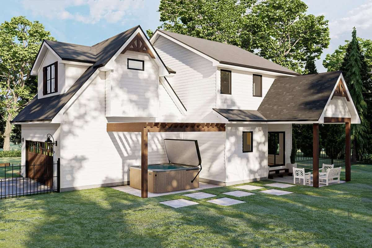 Rear rendering of the two-story 3-bedroom modern cottage-style home.