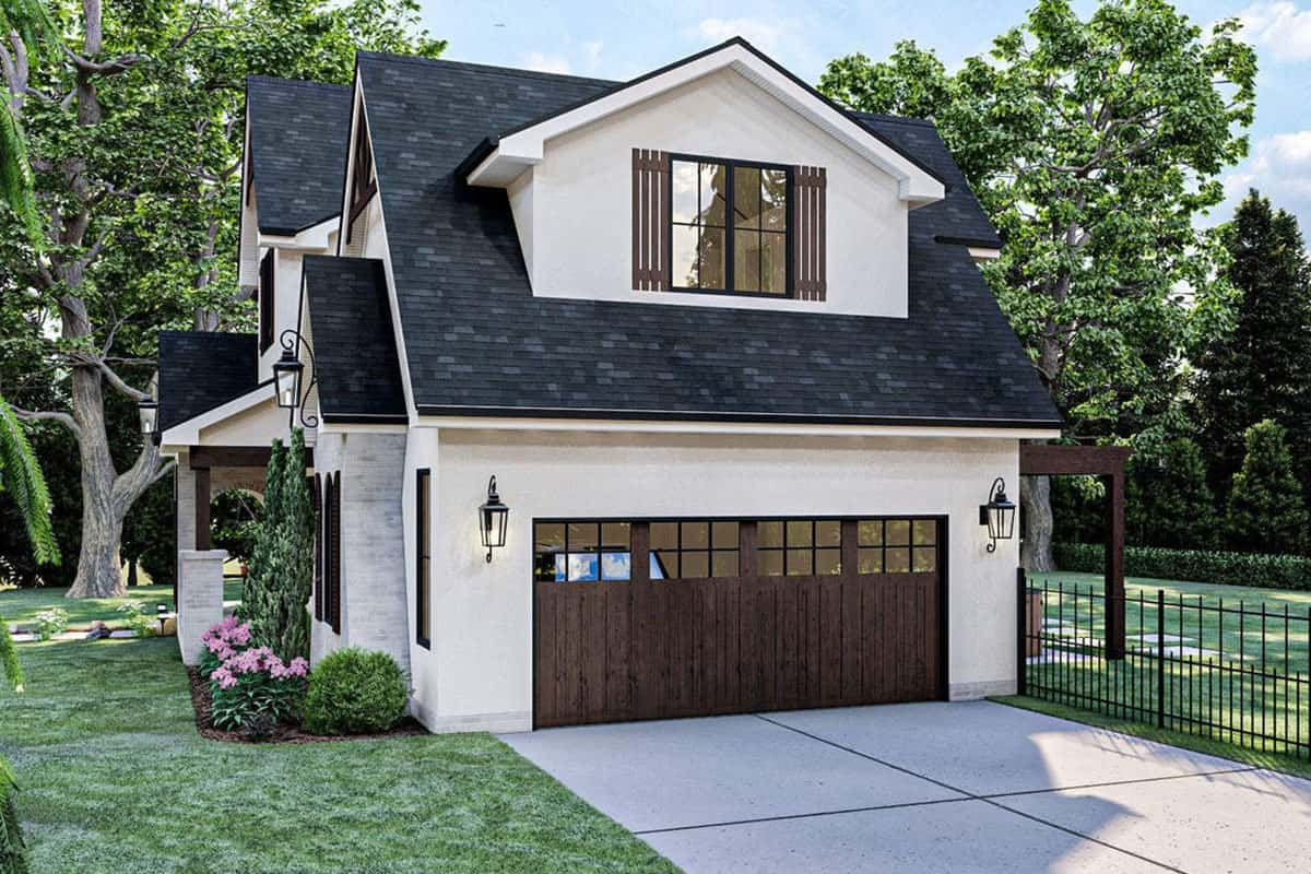 Right rendering of the two-story 3-bedroom modern cottage-style home.