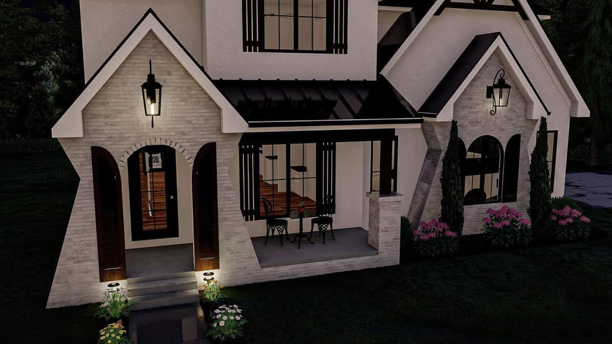 Night view rendering of the home's facade.