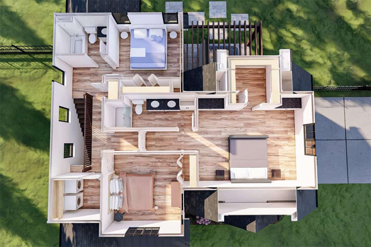 3D second level floor plan of the two-story 3-bedroom modern cottage-style home.