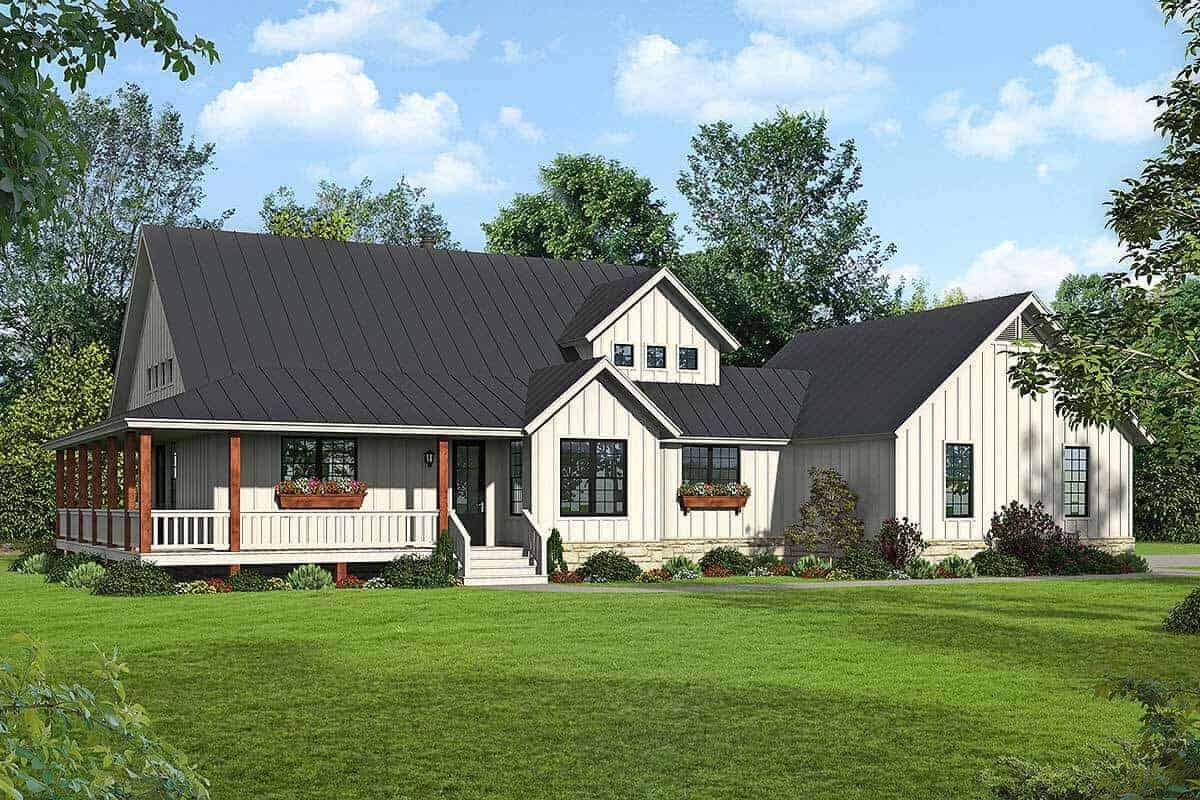 Two-Story 3-Bedroom Modern Farmhouse with Wraparound Porch and Balcony