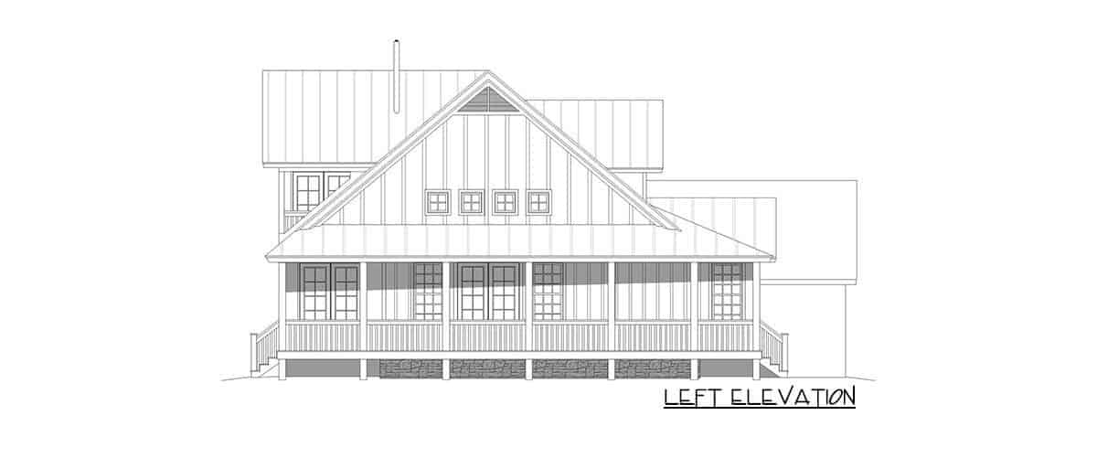 Left elevation sketch of the two-story 3-bedroom modern farmhouse.