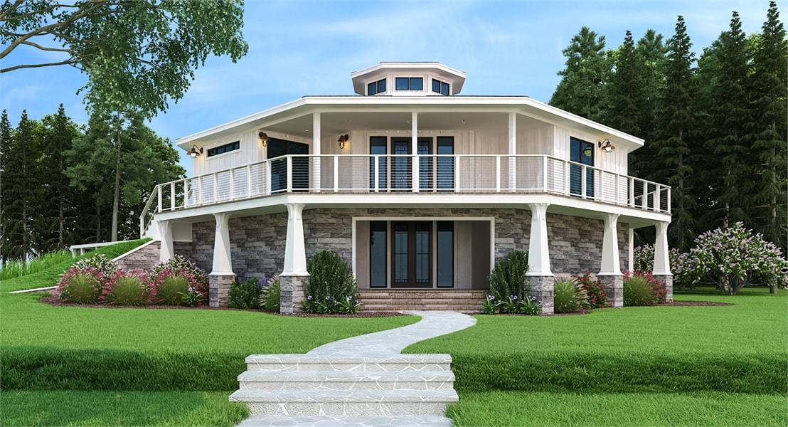 Two-Story 3-Bedroom Modern Octagon Style Home with Wraparound Deck