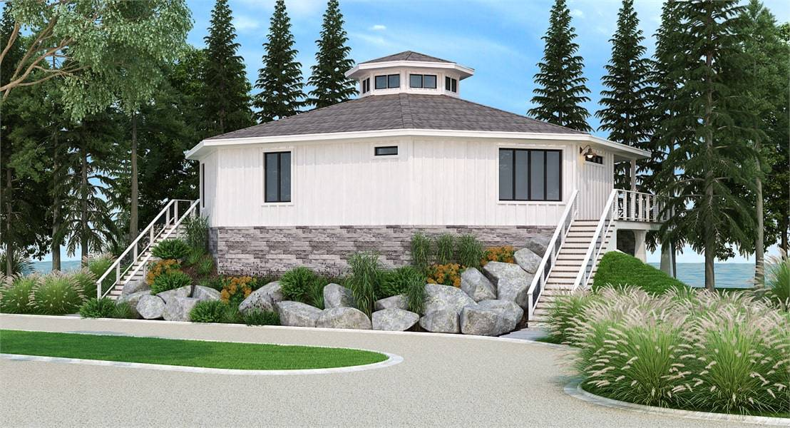 Rear rendering of two-story 3-bedroom modern octagon style home.