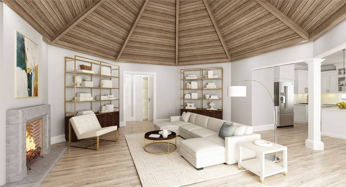 Living room with a fireplace, brass shelving units, white seats, and a dome ceiling with exposed beams.