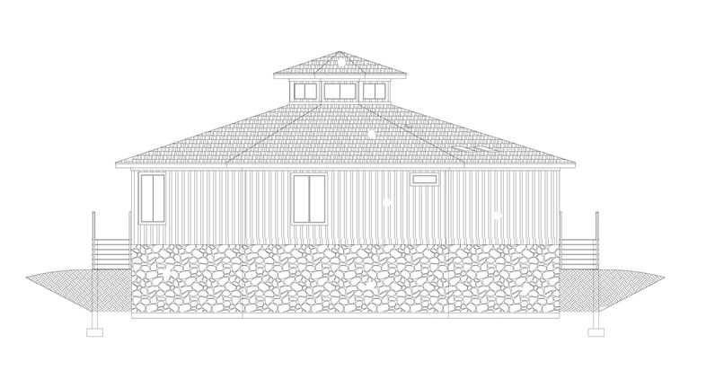 Front elevation sketch of two-story 3-bedroom modern octagon style home.