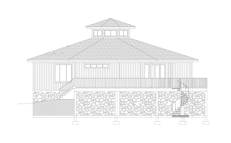 Right elevation sketch of two-story 3-bedroom modern octagon style home.