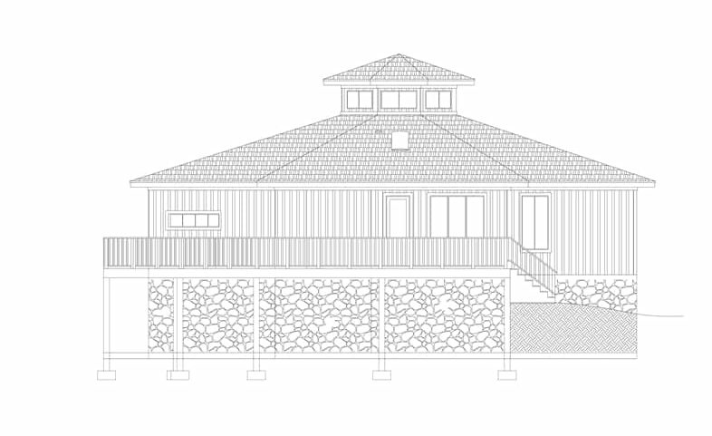 Left elevation sketch of two-story 3-bedroom modern octagon style home.