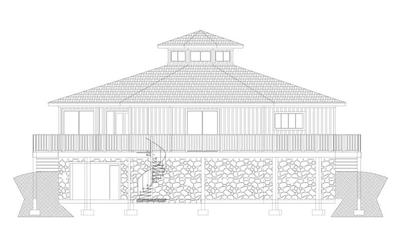 Rear elevation sketch of two-story 3-bedroom modern octagon style home.
